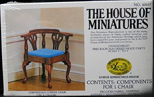 Dollhouse Furniture- Chippendale Corner Chair Circa 1750-1780 #40037 Assembled and Stained Mahogany (The House of Miniatures)