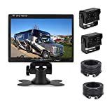 Camecho 12V 24V Backup Camera Monitor Kit With 2 Rear View Camera Waterpoof