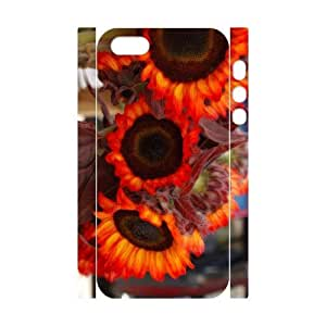 wugdiy Customized Cell Phone 3D Case Cover for iPhone 5,5S with DIY Design Fire Sunflower