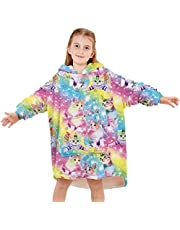 UIEIQI Girls Boys Fleece Wearable Blankets 3D Graphic Oversized Hoodies Fuzzy Sweatshirt for Fall Winter Size 4-14 Years