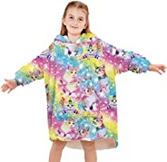 UIEIQI Girls Boys Fleece Wearable Blankets 3D Graphic Oversized Hoodies Fuzzy Sweatshirt for Fall Winter Size