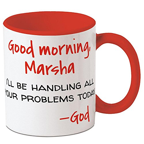 Good Morning - God Personalized Ceramic Mug - 11 oz. ceramic, Add a Name, Dishwasher & Microwave safe, Novelty Mug, Religious Gift, Birthday gift, Friendship Gift for $<!--$17.99-->