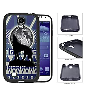 Wolf Howling With Moonlight Aztec Design Rubber Silicone TPU Cell Phone Case Samsung Galaxy S4 SIV I9500