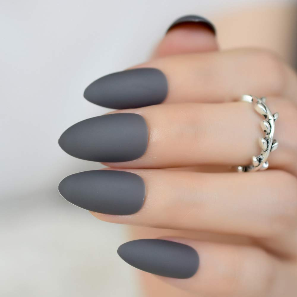CoolNail Fashion Smoky Gray Matte Stiletto Fake Nails Soft Good Feel Almond  Pointed Press on Oval Frosted Full Cover False Nail Art Tips