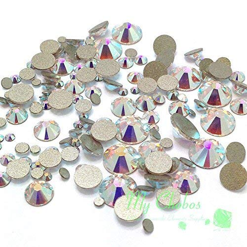 CRYSTAL AB (001 AB) 144 pieces 2058/2088 Crystal Flatbacks rhinestones nail art mixed with Sizes ss5, ss7, ss9, ss12, ss16, ss20, ss30 **FREE Shipping from Mychobos (Crystal-Wholesale)** SWAROVSKI 2058 / 2088