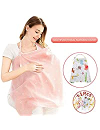 Nursing Breastfeeding Cover Scarf Lightweight Breathable 100% Cotton Nursing Cover for Breastfeeding Full Coverage Nursing Apron Carseat Canopy Stroller Cover for Babies Infants Moms - Rigid Neckline Adjustable Strap