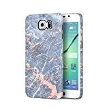 Grey Granite & Peach Strips Marble Print Hard Plastic Phone Case For Samsung Galaxy S6