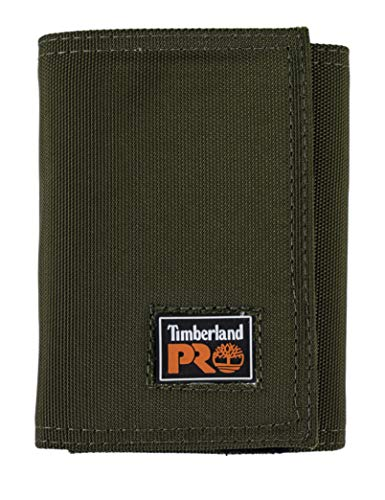 Timberland PRO Men's Cordura Nylon RFID Trifold Wallet with ID Window, Olive, One Size