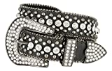 Women's Western Cowgirl Rhinestone Studded Leather Belt 1-1/2'' Wide (XX-Large, Black)