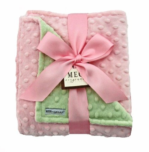 MEG Original Baby Girl Pink & Green Minky Dot Blanket