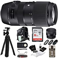 Sigma 100-400mm Lens for Nikon w/ Backpack & 16GB SD Card Bundle