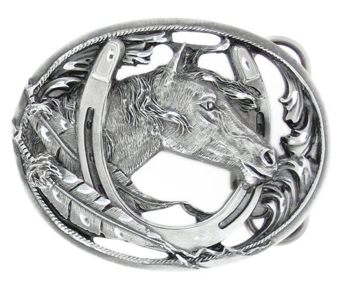 Pewter Belt Buckle - Horse Head in Horseshoe (Diamond Cut and Cut Out)