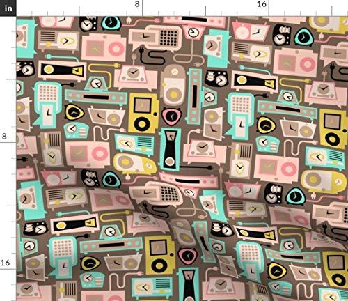 Spoonflower mid Century Alarm Clocks Fabric - Retro Mod Radios Mid Century Modern Clock Radio Vintage Retro Time Kitsch by Thirdhalfstudios Printed on Petal Signature Cotton Fabric by The Yard