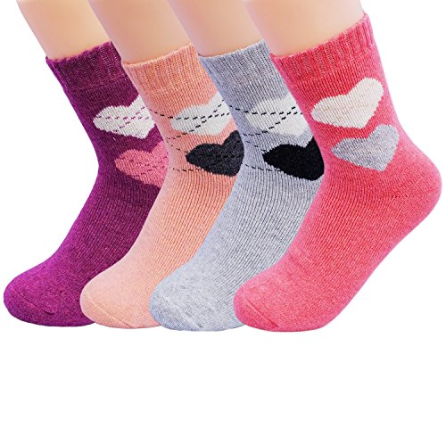 JOYCA & Co. 3-5 Pairs Womens Multicolor Fashion Warm Wool Cotton Thick Winter Crew Socks (Double Heart)