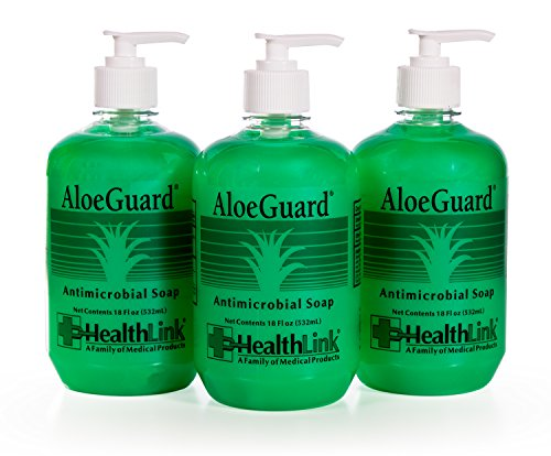 Healthlink AloeGuard 7760 Moisturizing Antimicrobial Soap, 18 oz, Aloe Vera Infused, PCMX, Light Floral Scent (3-Pack)