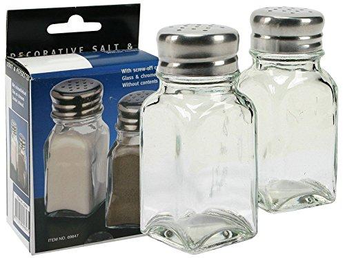 na-und chrome-Glas Salzstreuer Pfefferstreuer 4x9cm Gastroqualität
