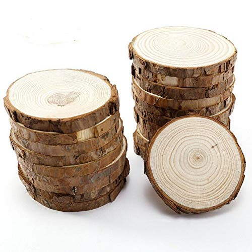 (15pcs 3.1-3.5inch Natural Wood Slices Round Wood Discs Tree Bark Wooden Circles for DIY Crafting Coasters Arts Crafts Home Decorations Vintage Wedding Ornaments ...)