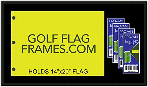 17 x 30 Golf Flag & Ticket Frame; Black Wood Frame 416, Reversible Green and Black Mat (holds 14x20 PGA, Ryder Cup, US Open Golf Flags and Tickets; flag & tickets not incl)