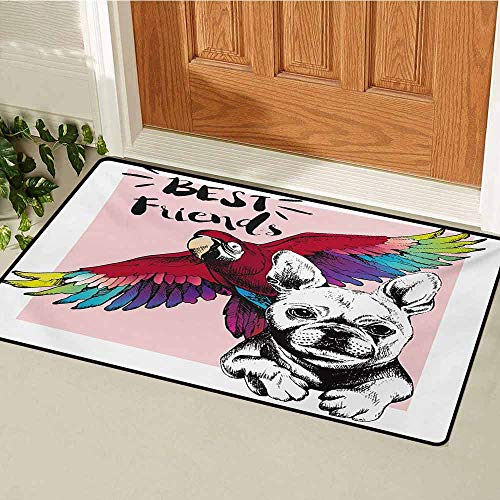 GUUVOR Modern Inlet Outdoor Door mat French Bulldog and Tropical Parrot Figure with Best Friends Phrase Portrait Design Catch dust Snow and mud W35.4 x L47.2 Inch Multicolor