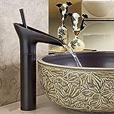 JiaYouJia Single Handle Waterfall Bathroom Vessel Sink Faucet Antique Black