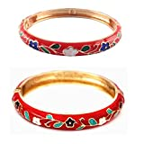 UJOY Floral Cloisonne Bracelet Sets Flower Bangles Jewelry 2 pcs Spring Hinged Zinc Alloy Gift Box 55A46 red