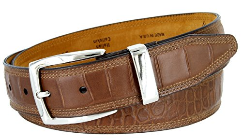 Calfskin Embossed Belt (Lejon Triple Stitched Alligator Embossed Italian Calfskin Casual Dress Belt (Brown,)