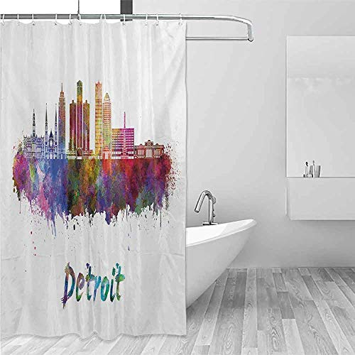 (Xlcsomf Sliding Shower Curtain Detroit Artistic Skyline in Watercolor Splatters Colorful Grunge Look American Landmark Decorated Bathroom Multicolor,W36 xL72)