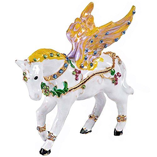Waltz&F Hinged Trinket Box Bejeweled Hand-Painted Animal Figurine Collectible (Flying Horse)