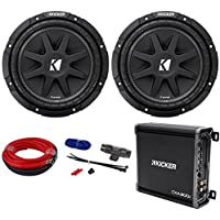 Package: (2) KICKER 43C104 Comp 10 Car Subwoofers Totaling 600 Watt With Single Voice Coil + Kicker 43CXA3001 300 Watt RMS Class D Car Amplifier + Power/Ground Car Amplifier Wiring Installation Kit