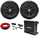 Package: (2) KICKER 43C104 Comp 10'' Car Subwoofers Totaling 600 Watt With Single Voice Coil + Kicker 43CXA3001 300 Watt RMS Class D Car Amplifier + Power/Ground Car Amplifier Wiring Installation Kit