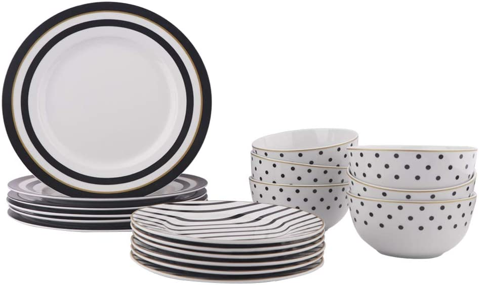 AmazonBasics 18-Piece Kitchen Dinnerware Set, Dishes, Bowls, Service for 6, Modern Elegance