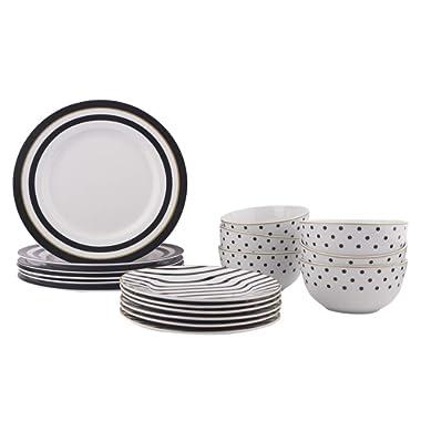 AmazonBasics 18-Piece Dinnerware Set - Modern Elegance, Service for 6