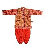 Baby Boys Pre-Stitched Ethnic Vintage Mirror Work Gujrati Garba Navratri Dhoti Kurta Dress with Mojari Mukut and Bansuri