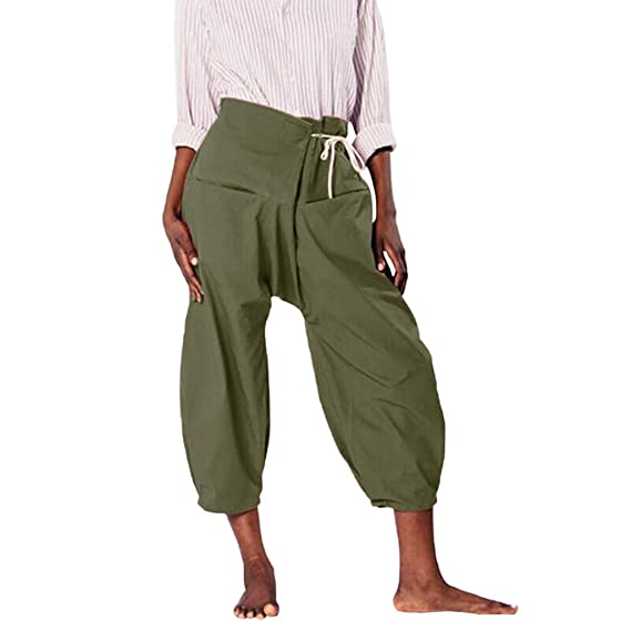 Luckycat Pantalones LinoHarén Mujer Vintage Cintura Alta ...
