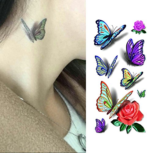 Oottati 3D Shadow Dancing Butterfly - Assorted Blue Purple Yellow Rose Temporary Tattoo (2 Sheets)