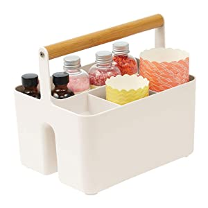 mDesign Plastic Portable Storage Organizer Kitchen Caddy Tote, Divided Bin with Wood Handle for Napkins, Silverware, Forks, Knives, Spoons - Store in Cabinets, Countertops - Cream/Natural