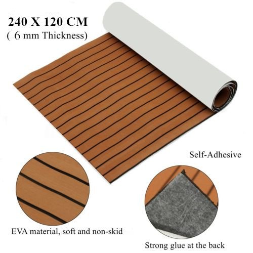 Mophorn 94.5 X 47 Inch EVA Foam Faux Teak Decking Sheet Non-Slippery Self-Adhesion Decking Sheet For RV Swimming Pool Garden Boat Yacht Marine Flooring in Wet Dry Conditions (Brown with Black Lines)