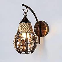 Modern Wall Lamp Metal Base Wicker LampShade E27 Copper Color Wall Sconces