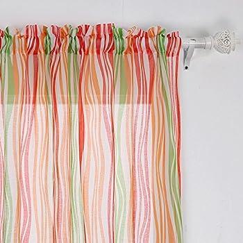 Amazon Com Deconovo Curtians Rod Pocket Sheer Curtains 63