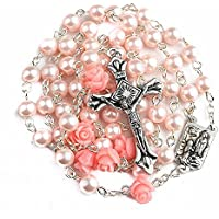 Catholic Pink Pearl Beads Rosary Necklace 6pcs Our Rose Lourdes Medal & Cross NS