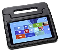 Pwr+ DELL VENUE-8-PRO Case for Kids (Black) : Protective Cover for DELL VENUE 8 PRO (3845, 5830) and VENUE 8 (3840) Kid Friendly Shockproof Light Weight Tablet Cover Stand KickStand Sleeve with Handle