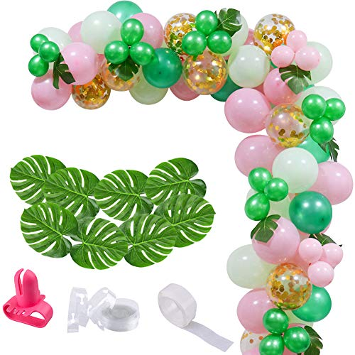 100 Pcs Pink Green Balloons Arch Garland, Tropical Green Gold Confetti Balloons with 12 Pcs Palm Leaves Balloon Garland for Baby Shower Wedding Birthday Hawaii Flamingo Tropical Party Supplies
