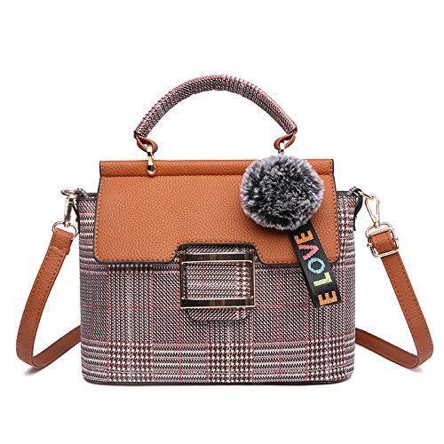 Woman Incense Bag Handbag Shoulder Bag Lady Plaid, Brown Brown