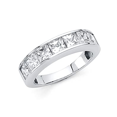 ee1d7fd7 Amazon.com: Ioka - 14K White Solid Gold 4.5MM Cubic Zirconia CZ ...