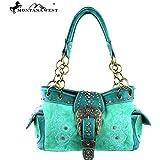 Montana West Floral Belt Buckle Collection Handbag Purse Turquoise