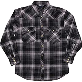 Woodland Supply Co. Men's Western Cowboy Flannel Plaid Check Long Sleeve Button Down Shirt
