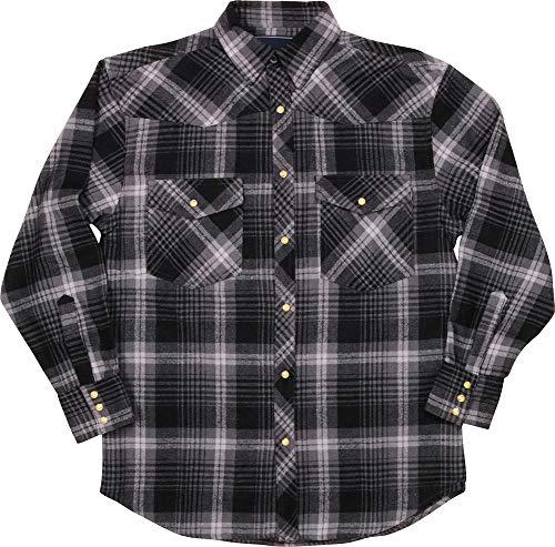 - Woodland Supply Co. Men's Western Cowboy Flannel Plaid Check Long Sleeve Button Down Shirt (Medium, Black/Charcoal)