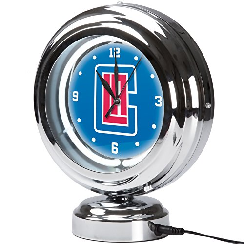 - Trademark Gameroom Los Angeles Clippers NBA Chrome Retro Style Tabletop Neon Clock
