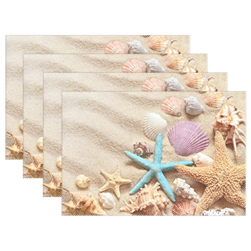 WOZO Seashells on Summer Beach and Sand Placemat Table Mat, Starfish 12″ x 18″ Polyester Table Place Mat for Kitchen Dining Room Set of 4