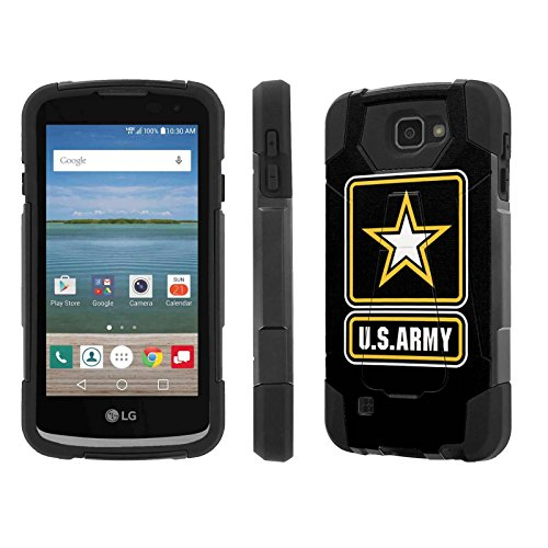 Cricket / Verizon LG Optimus Zone 3 / Zone3 Case, [NakedShield] [Black/Black] Armor Tough Shock Proof Kickstand Case - [Army] for LG Optimus Zone 3